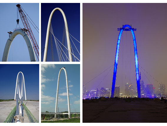 The bridge construction: completion of the 400 feet (122 m) center-support-arch and cable installation