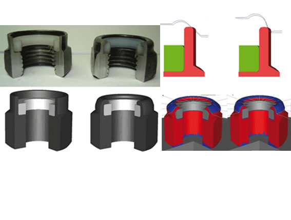 Nylon to metal snap-fit (top-left) and its simulation (bottom-left); Upper die designs with different curvatures (right)