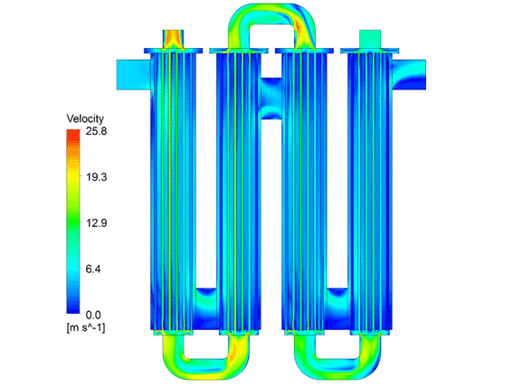 Velocity contours taken on the heat exchanger half-plane. The smoke and cold air flow through the domain with a counter-current pattern