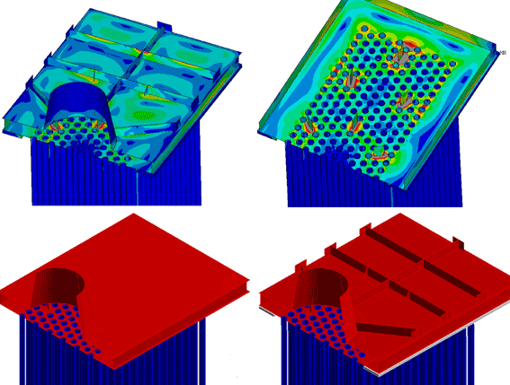 Top: von-mises stresses from the upper collector optimized design; bottom left: original geometry bottom right: optimized geometry