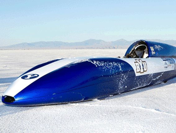 The FIA E-1 class racecar developed by Brigham Young University to set a world speed record for Electric Vehicles