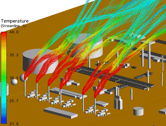 Simulation of hot gas coming from the upstream turbines stacks under westerly wind (winter) conditions
