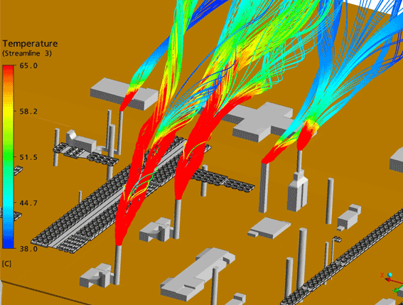 Simulation of hot gas coming from the upstream turbines stacks under northerly wind (summer) conditions
