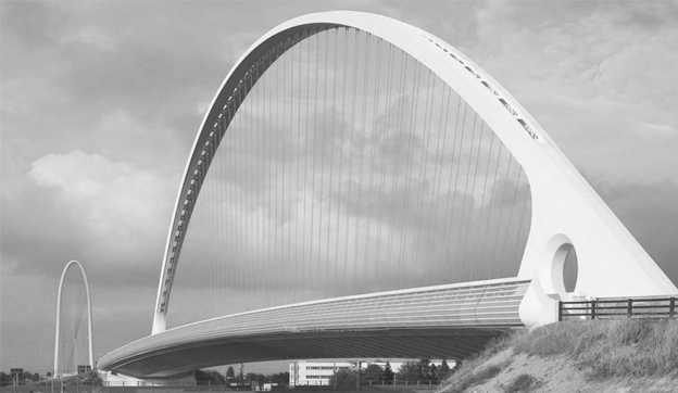 <h5>Cable-Stayed Arch</h5><p>A slender cable-stayed arch and a central box girder deck with lateral cantilevers stand as the main structural elements of the bridge </p>